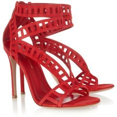 Gianvito Rossi Cutout suede sandals ($1,235) ❤ liked on Polyvore