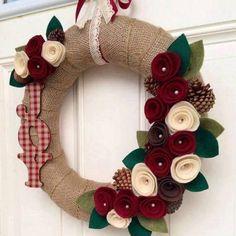 Christmas Wreath Christmas Decor Holiday by TheVioletteBloom Felt Flower Wreaths, Felt Wreath, Diy Wreath, Holiday Wreaths, Felt Flowers, Burlap Wreath, Felt Crafts, Diy And Crafts, Christmas Crafts