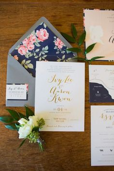 Gold and Navy Floral Wedding Invitations