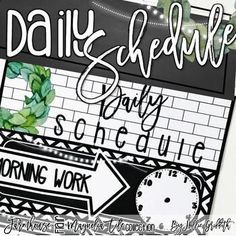 These schedule posters are filled with black and white tiles, chalkboards, string lights, lanterns, and magnolia wreaths. They are the PERFECT classroom decor for the farmhouse classroom! #HollieGriffithTeaching #ClassroomDecor #ClassroomManagement