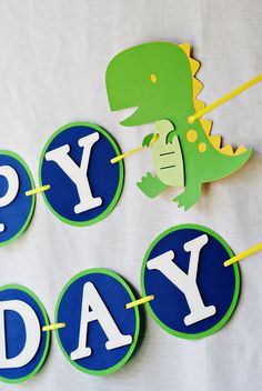 DinoROAR  birthday party package by Pinwheel Lane on etsy - Dinosaur Happy Birthday banner