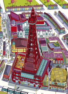Rod Hunt / Illustration and Illustrated Maps - Map Illustrator, Isometric Illustrations, Cityscapes, Infographics & Animation - Blackpool Illustrated City & Resort Map Beach Illustration, Building Illustration, Visit Blackpool, City Resort, Campus Map, Seaside Art, Seaside Resort, Cartography, Paris France