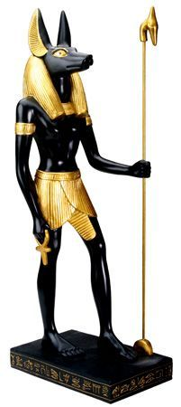 """This statue features the ancient Egyptian deity Anubis holding an ankh and """"Was"""" scepter on a hieroglyphic-etched base. Anubis was considered to be a protector of graves and guide to the souls of the Ancient Egyptian Deities, Egyptian Anubis, Egyptian Mythology, Cult Games, Anubis Statue, Hades And Persephone, Collectible Figurines, Body Painting, Sculpture"""