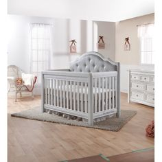 Silver tufted crib - Glamorous gray and silver nursery