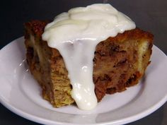 Pumpkin Bread Pudding with Rum Sauce recipe from Diners, Drive-Ins and Dives via Food Network