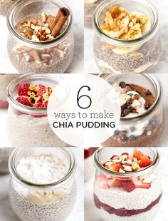 6 Ways to Make Healthy Chia Pudding Heres 6 easy and healthy recipes for how to make CHIA PUDDING! These make delicious vegan gluten-free breakfast ideas. Recipes with almond milk strawberries chocolate coconut you name it! SO yum. Source by simplyquinoa Fun Easy Recipes, Good Healthy Recipes, Healthy Breakfast Recipes, Gourmet Recipes, Healthy Snacks, Breakfast Ideas, Vegan Breakfast, Chia Recipe, Gluten Free Breakfasts