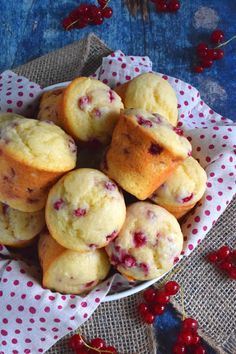 Light and fluffy Red Current Yogurt Muffins are sweet and tart, and soft and moist. These are a great breakfast or brunch menu item. Yogurt Muffins, Baking Muffins, Yogurt Cake, Fruit Recipes, Brownie Recipes, Smoothie Recipes, Muffin Recipes, Red Current Recipes, Currant Recipes