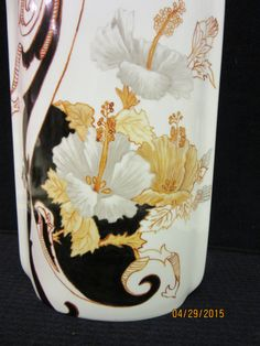 "Vase Large Porcelain, white gold black, Ceramic Pottery, Hand Painted kiln fired by B. Marsh 11 1/2"" high x 6 1/2"" wide"