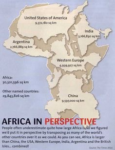 """The darkest thing about Africa has always been our ignorance of it."" -- George Kimble // this map illustrates exactly how large Africa is compared to some of the world's largest countries and regions."