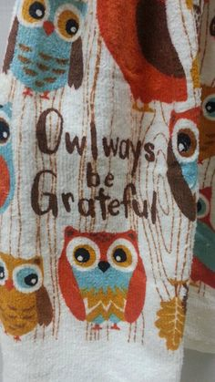 Kitchen towels with owls-owl fall decor tea towel-thanksgiving owl hand towel with turquoise-owl decor by AaronsAtticFinds on Etsy