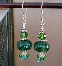 Evergreen Spruce Tropical Forest Lampwork by estanciadesigns, $64.00