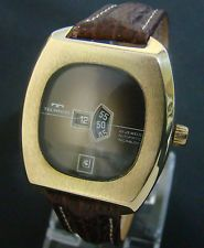 VTG TECHNOS OVERSIZED AUTOMATIC JUMP HOUR DIGITAL GOLD PLATED MENS WATCH TD 1393