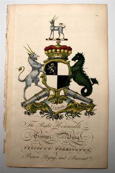Coat of arms of George Byng (1740–1812), 4th Viscount Torrington (GB 1721), Joseph Edmondson's Baronagium Genealogium, London, 1764-1784.