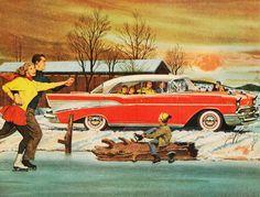 Holiday Skating ~ 1957 Chevrolet ad