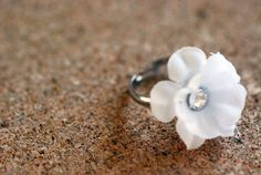 White Flower with Rhinestone Adjustable Silver Ring by JERIVANN, $5.00