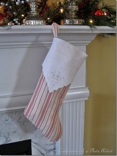 Tutorial...How to Make a Cuffed Christmas Stocking from ticking and vintage fabric napkin for the cuff