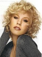 Fascinating Fluffy Short Curly Blonde 100% Human Hair Wig 10 Inches
