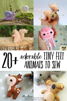 Super cute felt animal patterns to sew! These are the sweetest hand sewing proje… Super cute felt animal patterns to sew! These are the sweetest hand sewing projects, with all sorts of cute stuffed animal patterns to sew. Felt Animal Patterns, Stuffed Animal Patterns, Hand Sewing Projects, Sewing Projects For Beginners, Sewing Crafts, Felt Projects, Sewing Patterns Free, Free Sewing, Felt Patterns Free