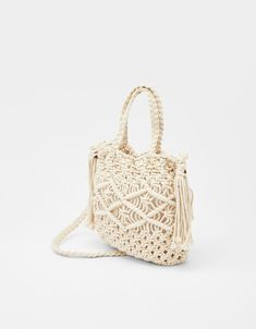 Discover this and many more items in Bershka with new products every week Macrame Wall Hanger, Macrame Bag, Handmade Bags, Straw Bag, Bag Accessories, Latest Fashion, Finding Yourself, Weaving, Knitting