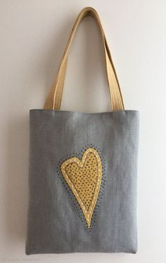 DIY Tote Bag - Make This Fabulous Heart Tote Bag with a Penc.- DIY Tote Bag – Make This Fabulous Heart Tote Bag with a Pencil Linen heart tote bag with appliqué, Sashiko Hand embroidered tote, Valentine tote bag, mother's day – - Jute Tote Bags, Tote Bags Handmade, Diy Tote Bag, Patchwork Quilt Patterns, Quilting Patterns, Diy Sac, Hand Applique, Linen Bag, Japanese Embroidery