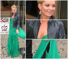 chiffon floor length with leather jacket