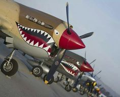P-40s lined up.