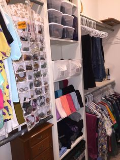 Closet organization: tension rods to hang tank tops, jewelry organizer, dollar tree containers