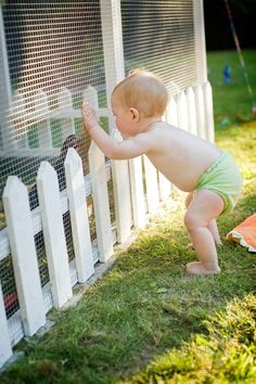 Cute baby but.... I like the mini white picket fence around the coop and I just do happen to have some!!!