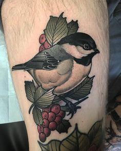 Bird Tattoos, Wolf Tattoos, Leg Tattoos, Chickadee Tattoo, Tattoo Ideas, Tattoo Designs, Branch Tattoo, Neo Traditional Tattoo, Hot Springs