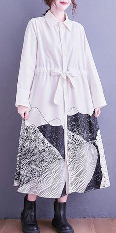 Loose White Abstract pattern Tunic Dress Lapel Tie Waist Long Dress Fall Dresses, Long Dresses, Casual Dresses For Women, Cotton Wedding Dresses, Cotton Dresses, Fashion Spring, Autumn Fashion, New Long Dress, Long Sleeve Cotton Dress