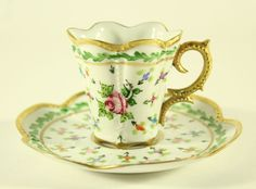 Vintage Peint Main J. Dumont Limoges France Cup and Saucer Hand Painted RARE #PeintMain