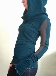 extra long sleeved hooded top Teal and Cement Grey color block. $60.00, via Etsy.