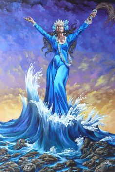 Yemaya is a goddess in Yoruba and Santeria tradition. She is mother of the sea and is known to look after women and children. Many women who are looking to bear children pray to Yemaya. African Mythology, African Goddess, African American Art, African Art, African History, Yemaya Orisha, Azores Portugal, Oshun Goddess, Moon Goddess