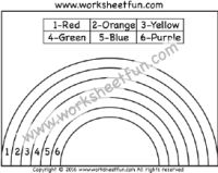 Rainbow – Color by Number – One Worksheet