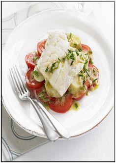 Barramundi with tomatoes & chive dressing   http://www.ibssanoplus.com/low_fodmap_barramundi_tomato_chive.html