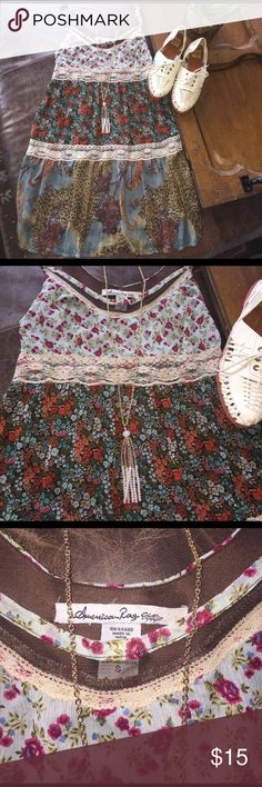Boho flowy minidress, EUC, American Rag Cie, S Awesome little dress!! Very breezy and comfy and a respectable yet cute length! VERY trendy!  No flaws, lined so it isn't see through despite top layer being somewhat sheer!  A mix of browns and blues and creams with splashes of magenta and peach and orange!  American Rag Dresses