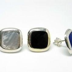 Pendientes de plata de primera ley cuadrados en presion con nacar de color a elegir blanco, negro o azul
