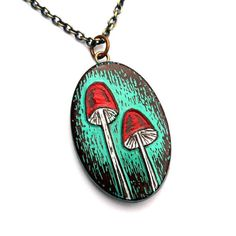 Rustic Woodland Mushroom Necklace - Turquoise, Red and White. $35.00, via Etsy.