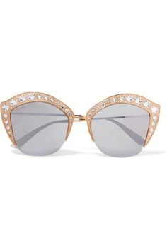 00b95fb9d97 Gucci - Crystal-embellished Cat-eye Gold-tone Mirrored Sunglasses