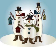 Snowman Trio. https://www.facebook.com/pages/Magic-Wonder-Tags-owner-Donna-Siegrist/180355825327681?ref=hl  Some products with this design are also available in my store at www.zazzle.com/designsbydonnasiggy*  #snowmen #christmas #clipart #cute