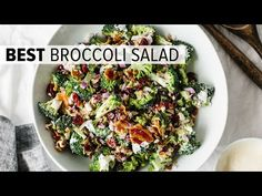 This delicious broccoli salad is a combination of broccoli, bacon, red onion, cranberries, sunflower seeds and goat cheese. And it's topped with a creamy mayonnaise yogurt dressing. Best Broccoli Salad Recipe, Healthy Broccoli Salad, Broccoli Recipes, Veggie Recipes, Cooking Recipes, Healthy Recipes, Healthy Meals, Party Salads, Salad Recipes For Parties