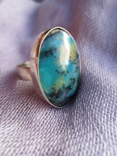 Peruvian blue opal oval opal ring set in silver by Perunz on Etsy