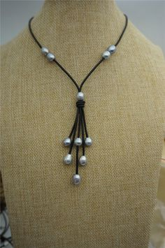 Gray rice pearl leather necklaceFreshwater Pearl and by WenPearls