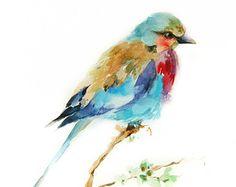 Lilac Bird Watercolor Painting Art Print - Bird Reproduction - Bird Illustration…