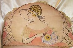 Awesome Antique Deco Era Embroidery Lace Lady Flowers Pillow   eBay
