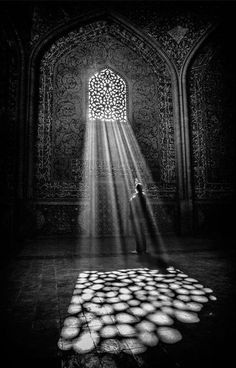 Light beams on a cathedral floor.