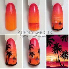 Palm, design on vacation - Nails Ideas & Nails Diy Trendy Nails, Cute Nails, Sunset Nails, Sea Nails, Gelish Nails, Vacation Nails, Nail Decorations, Nail Tutorials, Halloween Nails