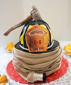 Fire Helmet, Hose & Axe Cake | Shared by LION