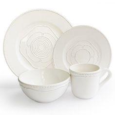 Gabrielle White 16 Pc Dinnerware Set