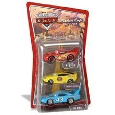 CARS Racing 3-Car Pack: Pace Car/Lightning McQueen/King by Mattel. $29.95. Featuring Lightning McQueen, Charlie Checker, and The King. Pixar Cars - Piston Cup 3 Car Gift Pack. Your favorite characters from the hit Disney/Pixar movie Cars are available in new collectible die-cast three-packs.